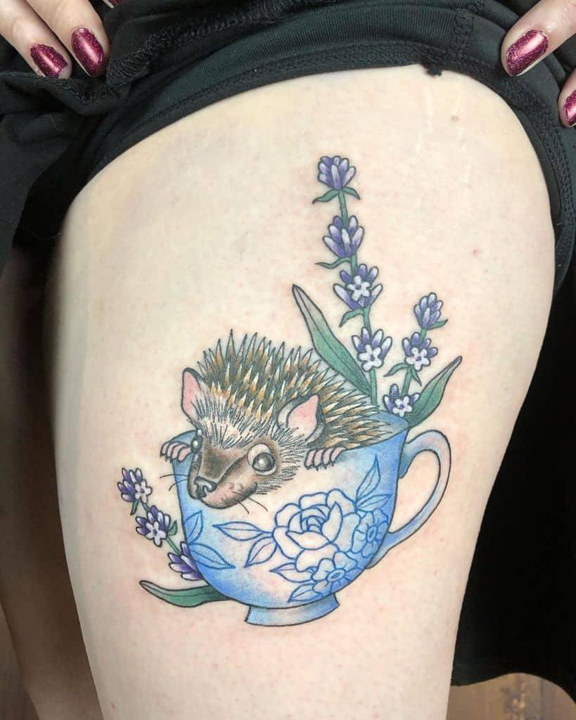 Hedgedog Lavander Tattoo