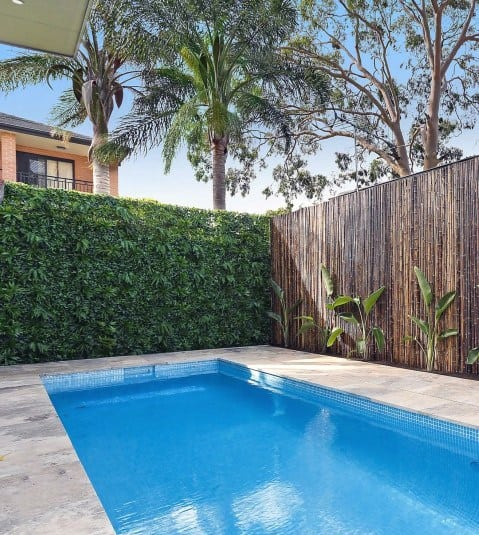 Hedges With Wood Pool Fence Ideas Inspiration