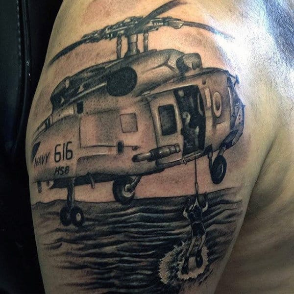 Helicoper With Diver Mens Navy Upper Arm Tattoos