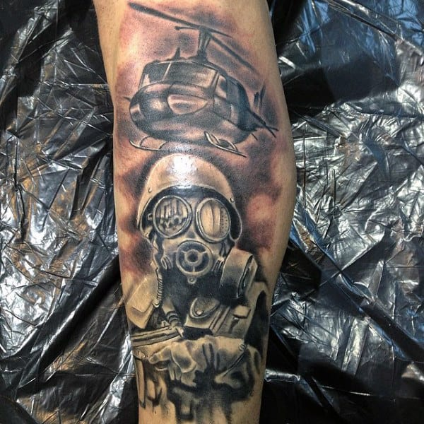 Helicopter And Soilder Mens Gas Mask Tattoo On Leg