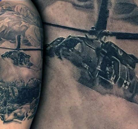 Helicopter Half Sleeve Mens Air Force Tattoos