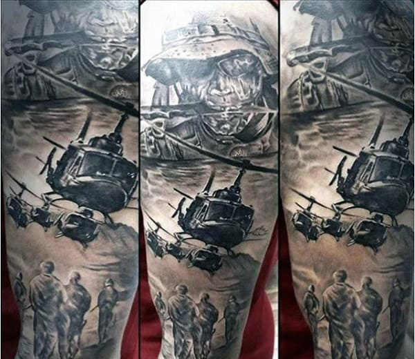 Helicopter Soliders Army Sleeve Male Tattoo