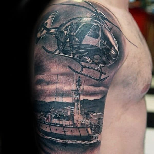 Helicopter With Boat Mens Detailed Half Sleeve Tattoos