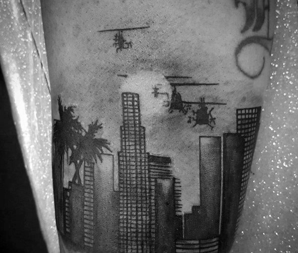 Helicopters Flying Over City Skyline Mens Arm Tattoos