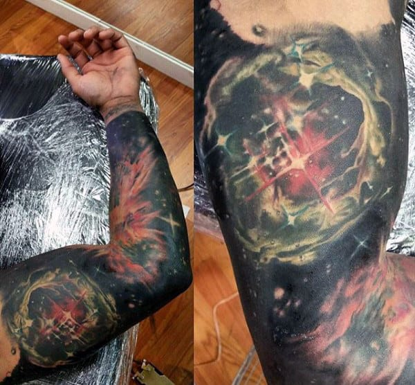 Heliocentric Astronomy Tattoo Male Full Sleeves