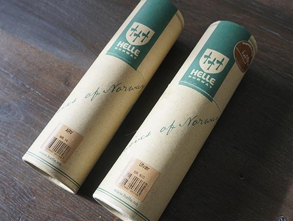 Helle Arv And Utvaer Knives In Tube Packaging