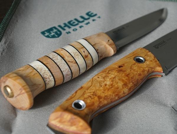 Helle Arv And Utvaer Knives Stunning Polished Handle Details