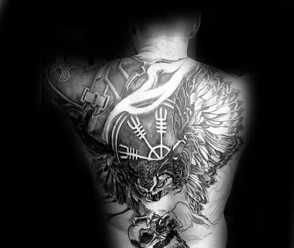 Helm Of Awe Male Tattoos Full Back
