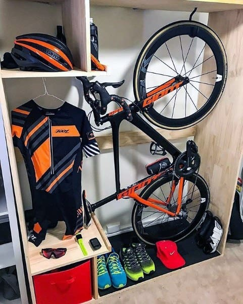 Helmet And Gear Bicycle Storage Ideas Custom Wood Cabinet