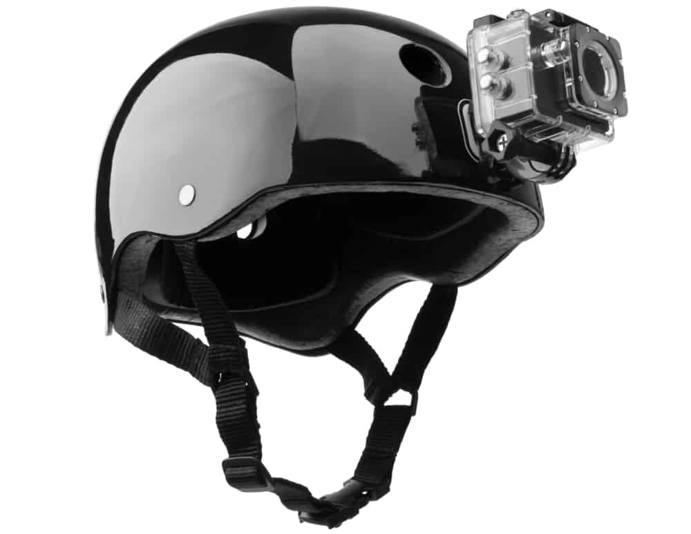 black bike helmet with action camera fitted on
