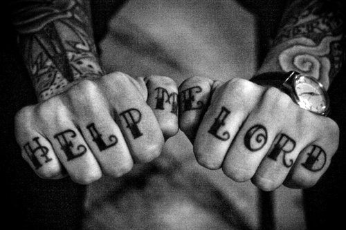 Help Me Lord Wording Knuckle Tattoos For Guys