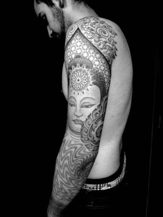 Henned Patterned Buddhism Tattoo Full Sleeve For Men
