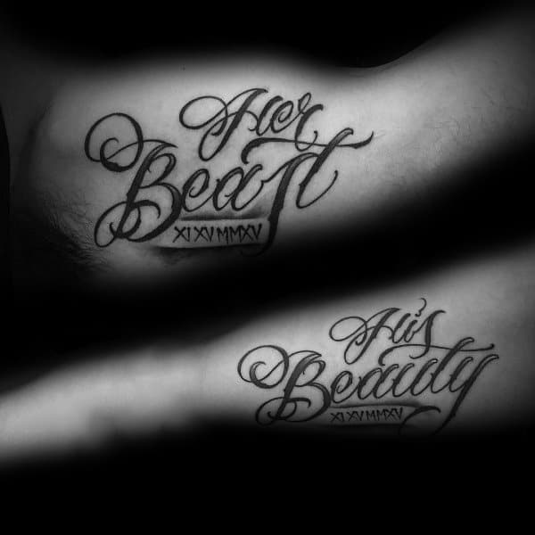 Her Beast His Beauty Quote Script Creative Tattoo Ideas For Couples