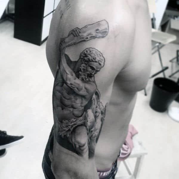 Hercules With Club Mens Upp Arm Tattoos