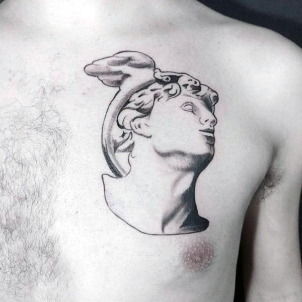 Hermes Statue Mens Upper Chest Tattoos