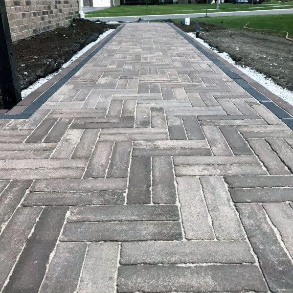 Herringbone Excellent Exterior Ideas Paver Walkway