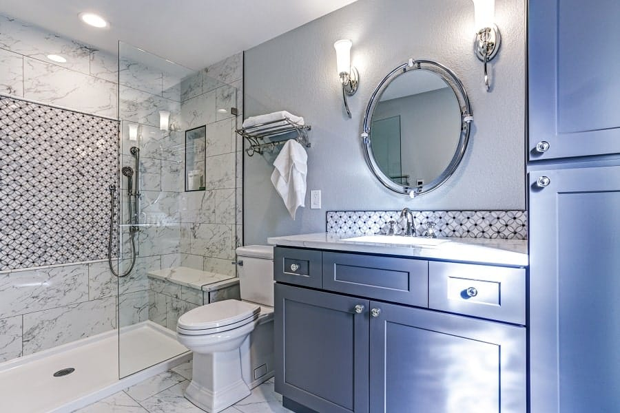 Herringbone Floor Ideas For Marble Bathroom