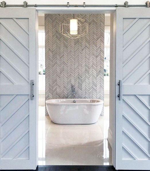 Herringbone Master Bathroom White Design Ideas For Barn Door