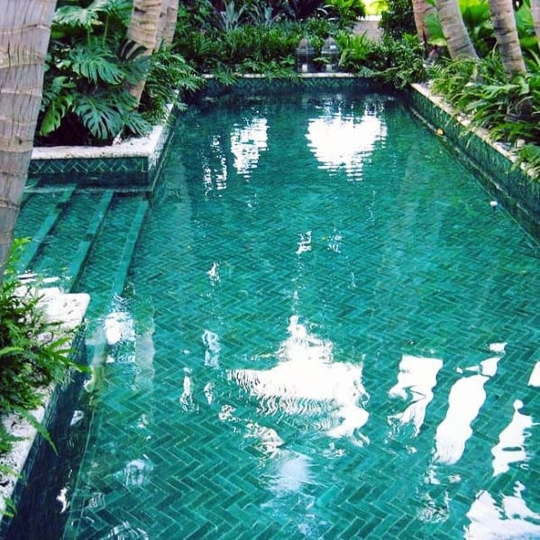 Herringbone Pool Tile Ideas Inspiration