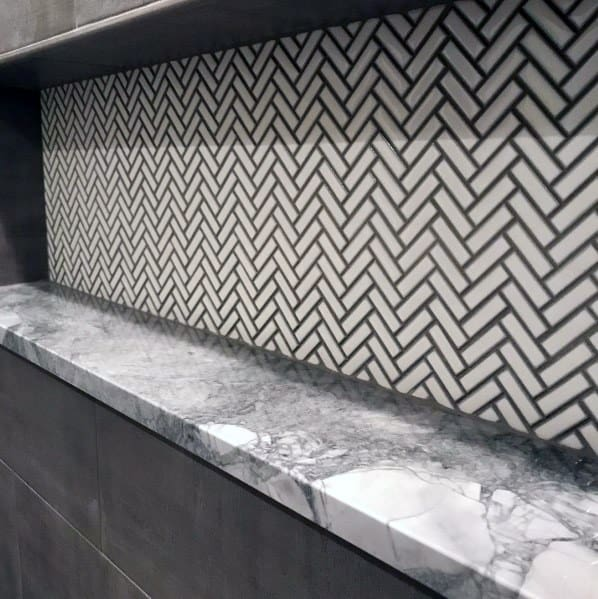 White Herringbone Shower Tile