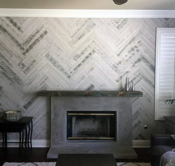 Herringbone Stained Grey Wood Wall Ideas With Fireplace