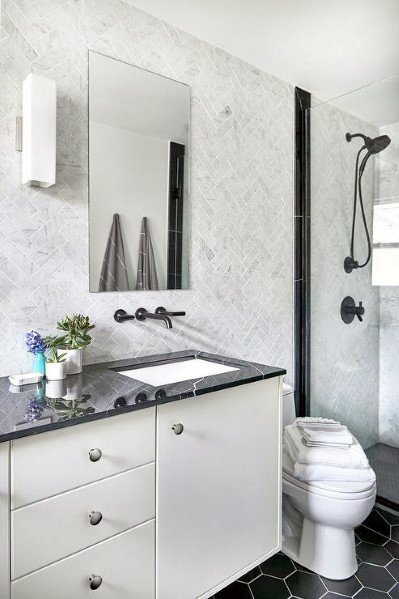 Top 70 Best Bathroom Backsplash Ideas Sink Wall Designs