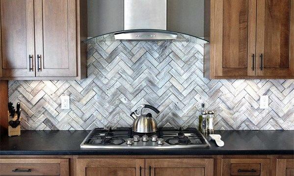 Herringbone Wood Backsplash Kitchen Ideas