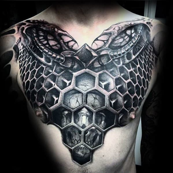 Hexagon 3d Skull Guys Geometric Chest Tattoo