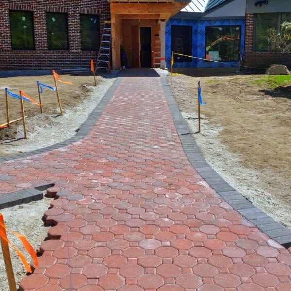 Hexagon And Square Red Brick Pattern Unique Paver Walkway Home Ideas