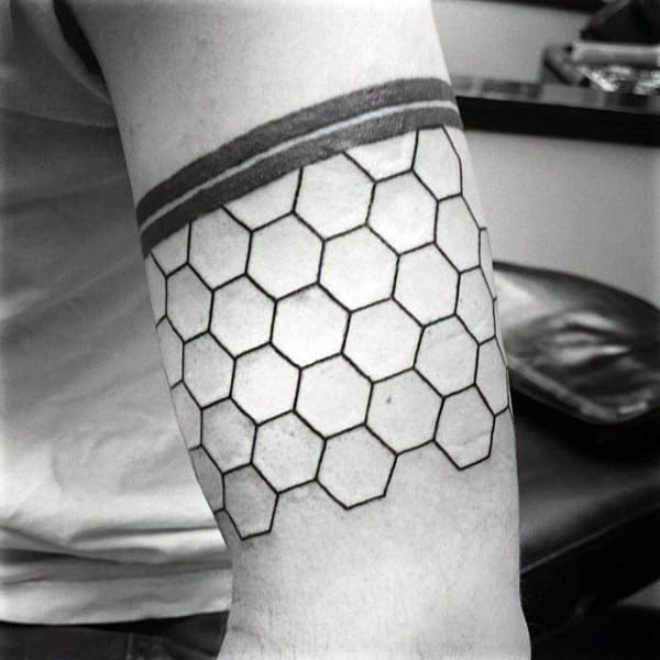 Hexagon Armband Honeycomb Tattoo Ideas For Guys