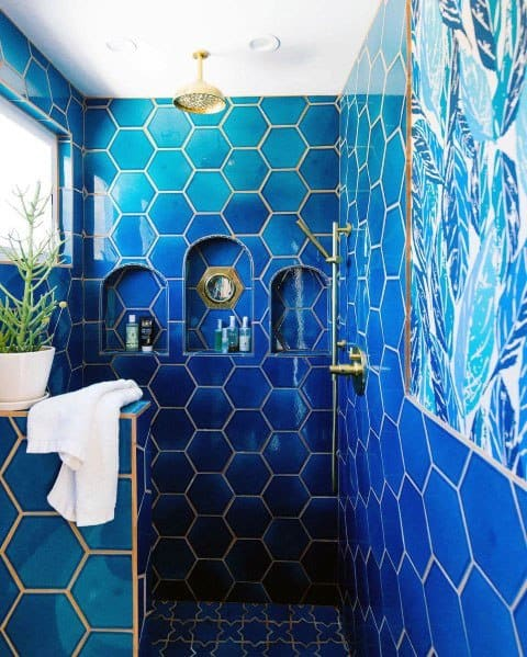 Hexagon Blue Tiles With Gold Grout Bathroom Interior Design
