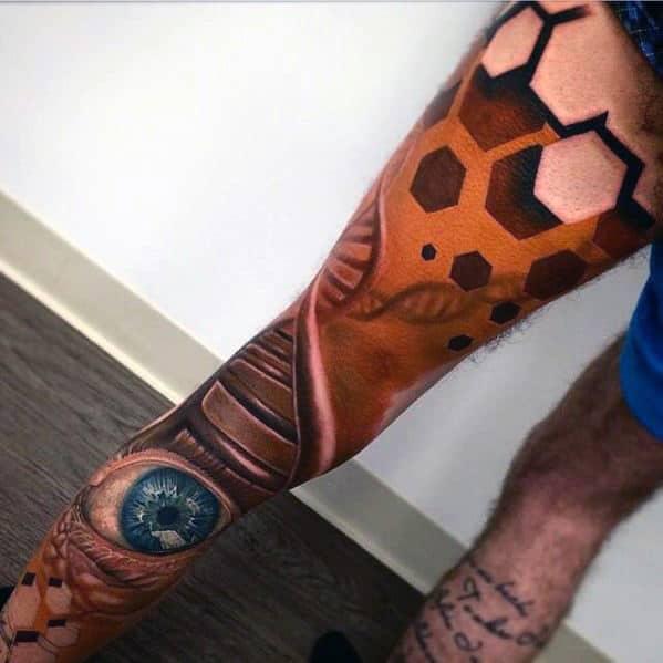 Hexagon Dna Helix With Eye Guys 3d Leg Sleeve Tattoos