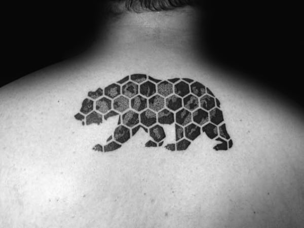 Hexagon Geometric California Mens Upper Back Bear Tattoo