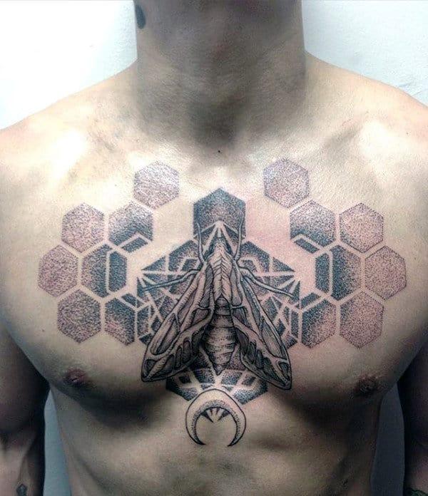 Hexagon Geometric Guys Moth Upper Chest Tatto Ideas