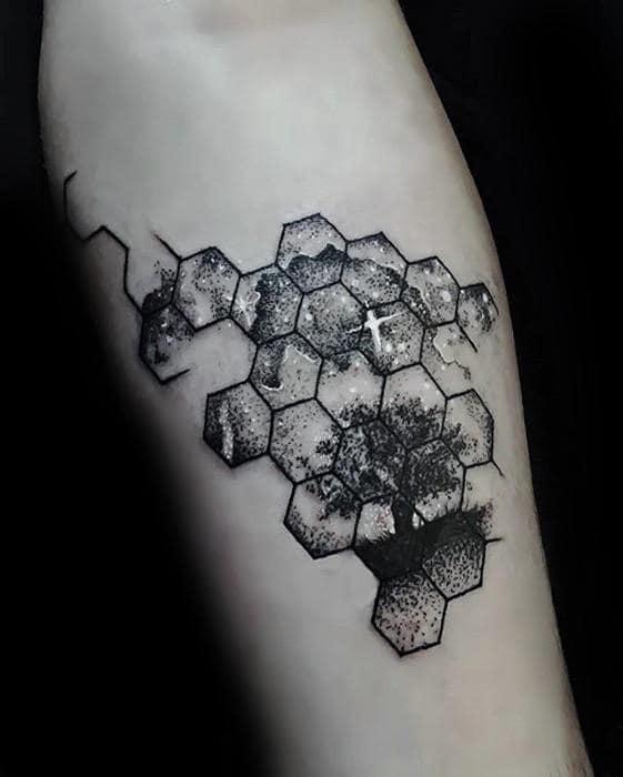 Hexagon Geometric Small Tree With Night Sky Mens Inner Forearm Tattoo