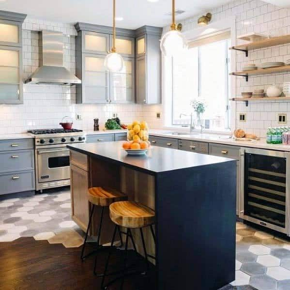 Hexagon Grey And Hardwood Designs Kitchen Tile Floor