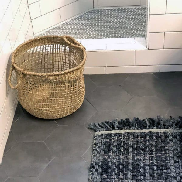 Hexagon Grey Bathroom Floor Tile Ideas