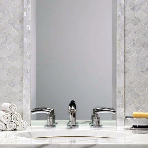 Hexagon Marble Bathroom Backsplash Ideas With Tile Mirror Frame And Chrome Faucet Fixture