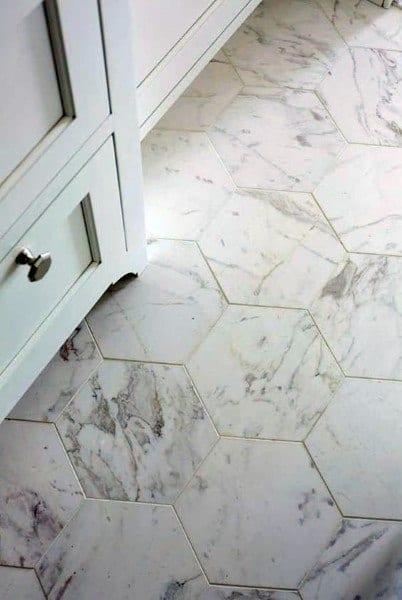 Hexagon Marble Bathroom Floor Design Ideas