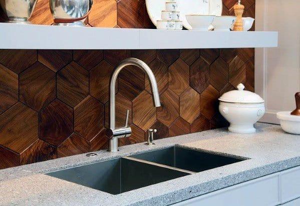Hexagon Pattern Wood Backsplash Idea Inspiration