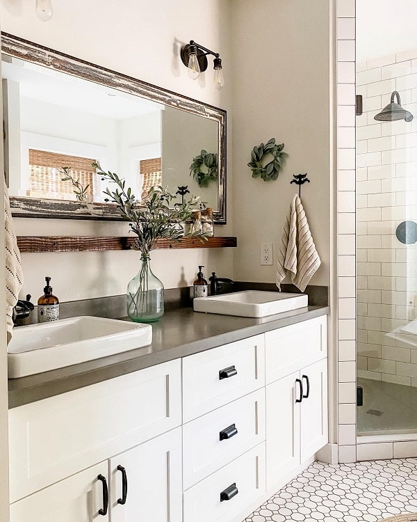 Hexagon Tile Modern Farmhouse Bathroom Lifeamongthecedars
