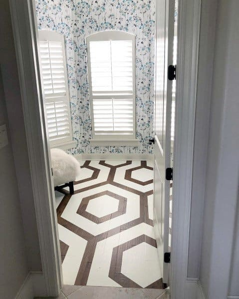 Hexagon White Interior Ideas For Painted Floor