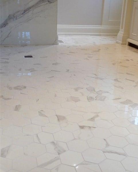 Hexagon White Marble Tiles Bathroom Floor