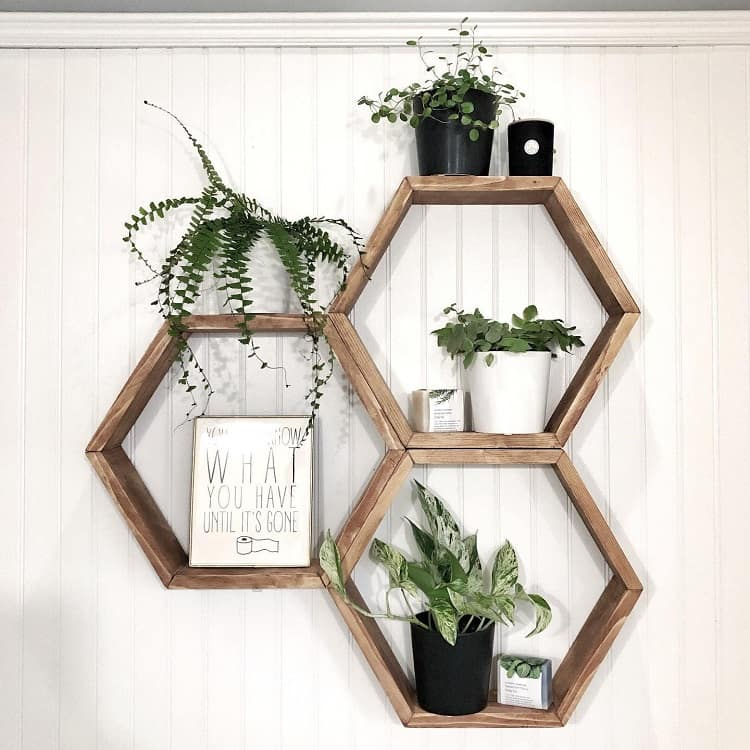 Hexagon Wood Bathroom Floating Shelf Crateno8