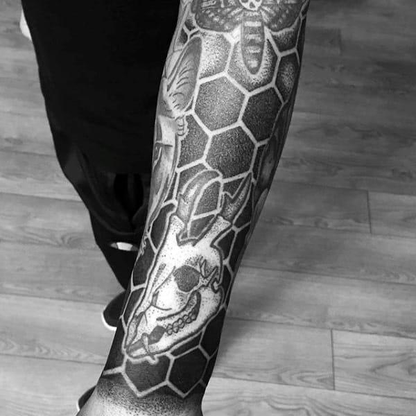 Hexagonal Honey Bee Pattern Tattoo Male Forearm