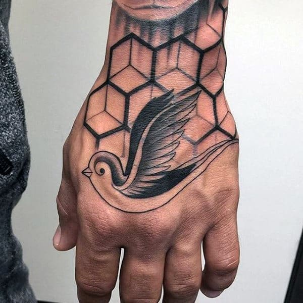 Hexagonal Pattern And Sparrow Tattoo Guy Hands