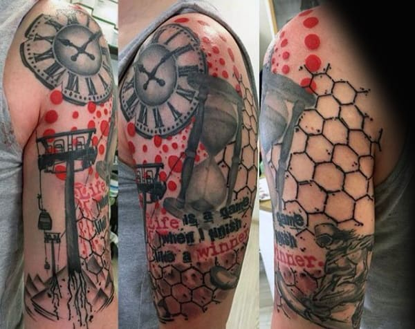 Hexagonal Red Patterned Snowboard Tattoo Male Arms