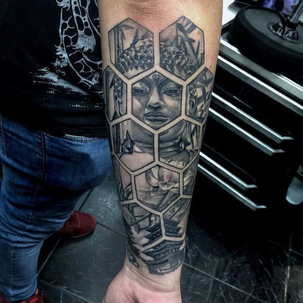 Hexagonal Tiled Buddha Tattoo For Men On Lower Arms