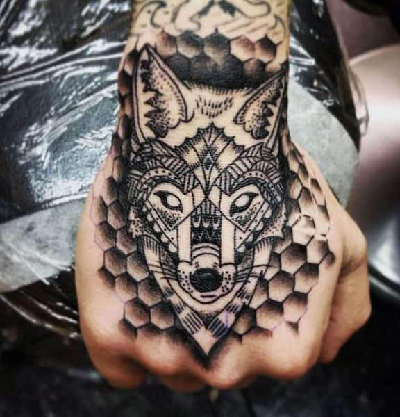Hexagons And Fox Black Tattoo Mens Hands