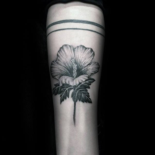 Hibiscus Flower With Stem Mens Inner Forearm Tattoo